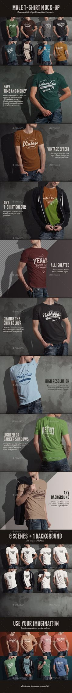 8 high resolution photo-realistic crew neck male t-shirt mock-ups with 1 grunge wall background and optional vintage effect all in 1 PSD file. Save time and use this photo-realistic mock-up instead of taking pictures. It's very easy to use. Download: http://graphicriver.net/item/tshirt-mockup/11017578?ref=ksioks