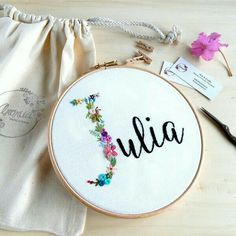 Floral name embroidery