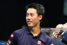 Kei Nishikori of Japan after winning his quarterfinal match of the New York Open on February 16, 2018, at NYCB Live in Uniondale, NY.