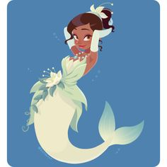 Find images and videos about disney, mermaid and tiana on We Heart It - the app to get lost in what you love. Disney Princesses As Mermaids, Disney Princess Tiana, Disney Princess Drawings, Disney Drawings, Mermaid Disney, Mermaid Art, Black Mermaid, Arte Disney, Disney Fan Art