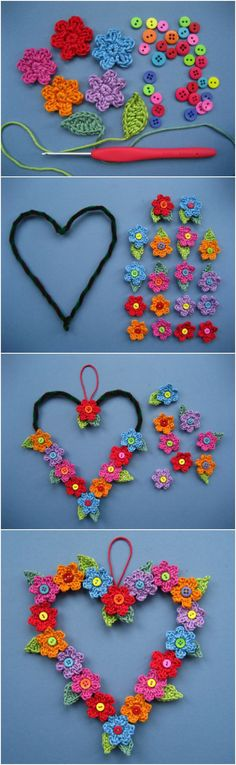 crochet flowers design Crochet Heart Wreath with Button Flowers Free Pattern - Watch the Crochet Button Flowers Video and learn how to create your own quickly and easily. You will love this collection of free patterns. Appliques Au Crochet, Crochet Flower Patterns, Crochet Motif, Crochet Flowers, Knitting Patterns, Knit Crochet, Crochet Hearts, Knitting Ideas, Crochet Ideas