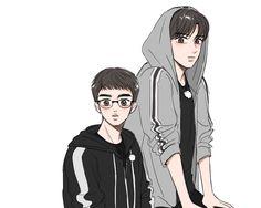 Kyungsoo, Chanyeol, Kaisoo, Exo Anime, Exo Lockscreen, Exo Fan Art, Short Comics, Bts And Exo, Cute Shorts
