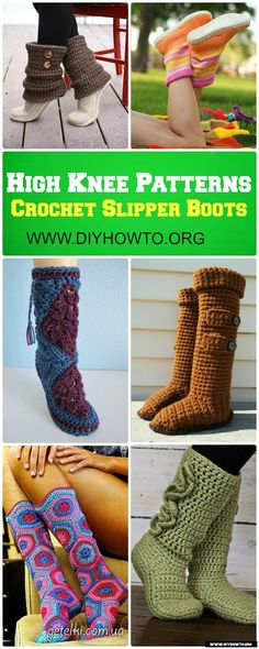 Crochet High Knee Crochet Slipper Boots Patterns For Winter #Crochet, #Boots via @diyhowto