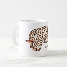 Leopard print Elephant Mug with name - decor gifts diy home & living cyo giftidea Elephant Mugs, Name Mugs, Customizable Gifts, Office Gifts, Home Gifts, Photo Mugs, Monogram, Ceramics, Make It Yourself