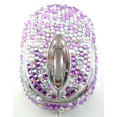 Purple Pearl Crystal Rhinestone USB Optical LED Scroll Wheel Computer Mouse