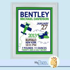 Airplane Green and Blue Birth Announcement by AllPetsCherished, $15.00