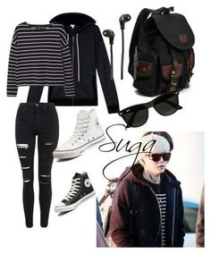 """Suga inspired airport outfit"" by ❤ liked Kpop Fashion Outfits, Mode Outfits, Korean Outfits, Casual Outfits, Girl Outfits, Look Fashion, Teen Fashion, Korean Fashion, Tumblr Herbst Outfits"
