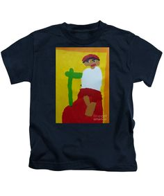 Patrick Francis Designer Kids Navy T-Shirt featuring the painting Italian Woman - After Vincent Van Gogh by Patrick Francis