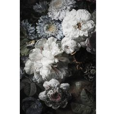 Dark Floral Mural Floral Wallpaper Vintage by anewalldecor on Etsy
