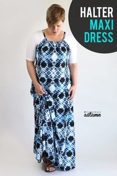 How to make a halter dress {easy sewing tutorial!} - It's Always Autumn Dress Sewing Patterns, Sewing Patterns Free, Free Sewing, Skirt Patterns, Blouse Patterns, Clothes Patterns, Sewing Hacks, Sewing Tutorials, Sewing Tips