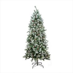 NorthLight 7 ft. Pre-Lit Mixed Snow Pine Artificial Christmas Tree, Clear Lights -- Check out @…