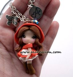 1  Red Riding Hood chibi necklace made in italy polymerclay