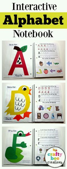 This interactive alphabet notebook is perfect for teaching the alphabet to children. Children will make a craft for each letter, write their letters, and cut and paste different pictures that match th… - Preschool Children Activities Preschool Literacy, Kindergarten Reading, Kindergarten Classroom, Preschool Letters, Interactive Notebooks Kindergarten, Daycare Curriculum, Interactive Learning, Preschool Worksheets, Teaching Toddlers Letters