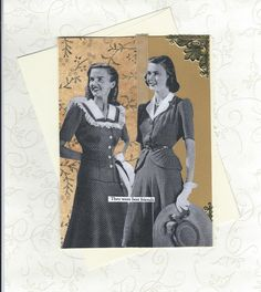 Collage Art Best Friends Lesbian Same Sex Valentine Wedding Card Original Art - Partners and Best Friends - pinned by pin4etsy.com