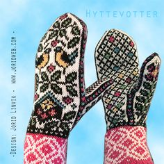 Hyttevotter Fingerless Mittens, Knit Mittens, Knitted Gloves, Fair Isle Knitting Patterns, Knitting Charts, Hand Knitting, Wrist Warmers, Hand Warmers, Yarn Projects