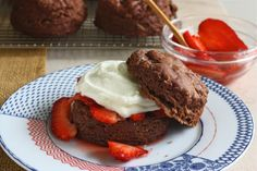 Chocolate Buttermilk Biscuits! with whipped cream & strawberries!  Yummy Dessert!