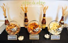Fête à Fête: A black & white beer tasting party - snack display (wheat) Beer Tasting Birthday, Beer Birthday Party, Beer Tasting Parties, 30th Birthday, 30th Party, Birthday Ideas, Birthday Gifts, Oktoberfest Party, Birthday Party Table Decorations