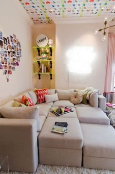 This chic teen hangout would be many a teen and tween girl's dream. An oversize pit sofa from Sofa U Love holds court in the center, providing plenty of space for a gaggle of kids to sit, gossip and snack.