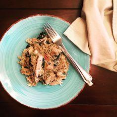 Weeknight dinner, Quinoa, rotisserie chicken, baby kale stir fry.