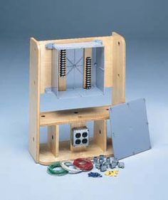 Tabletop Electrical Assembly Station for work hardening in occupational therapy clinics. Work Hardening, Adaptive Equipment, Occupational Therapy, Woodworking Tips, Fine Motor, Organization Hacks, Simple, Tabletop, Live