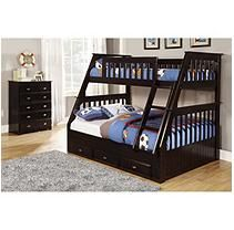 Twin/Full Bunk Bed with 5 Drawer Chest - Espresso