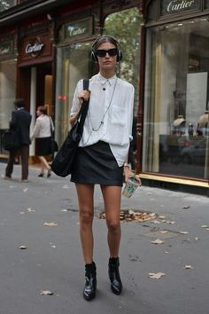 Love the texture of this white shirt. Don't know if I could pull off the leather skirt unless it was thin fabric and petite size.