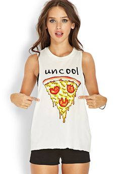 Shop Women's Forever 21 White size S Muscle Tees at a discounted price at Poshmark. loose, flowy, to be worn with a bandeau underneath. Grunge, Pizza Shirt, Summer Outfits, Cute Outfits, Cute Tank Tops, Crop Tops, Punk, Muscle Tees, Everyday Outfits