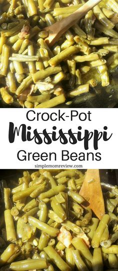 These Mississippi green beans are amaaaazingly good! My sister from Arkansas was the one that turned me onto them, and now they are a favorite at our house! Crock Pot Slow Cooker, Crock Pot Cooking, Slow Cooker Recipes, Cooking Recipes, Healthy Recipes, Crockpot Recipes, Beans Recipes, Cooking Oil, Healthy Dinners