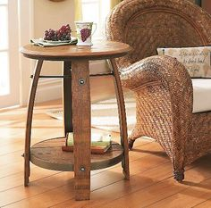 whiskey barrel coffee table on http://firmninedesign   wine