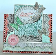A step card by Kelly-ann Oosterbeek made using the Rustic Harmony collection from Kaisercraft.