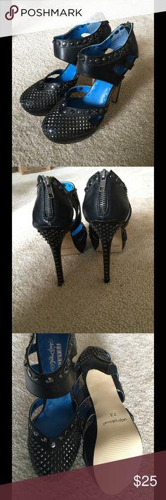 "Black Studded 'Fearless' Black Studded Fearless, size 7.5, fits true to size,  5.25"" heel with 1.25"" platform Shoe Dazzle Shoes Platforms"