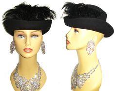 Vintage 1940s Hat Designer Black Feather Hat by vintagediva60, $105.00