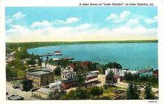 Lake Charles Louisiana LA 1936 Town Lake Front Antique Vintage Postcard