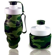 FoldableCollapsible Travel Water Bottle  Camouflage Foldable Silicone Design for Compact OutdoorIndoor Use Camo *** Click image to review more details.(This is an Amazon affiliate link and I receive a commission for the sales)