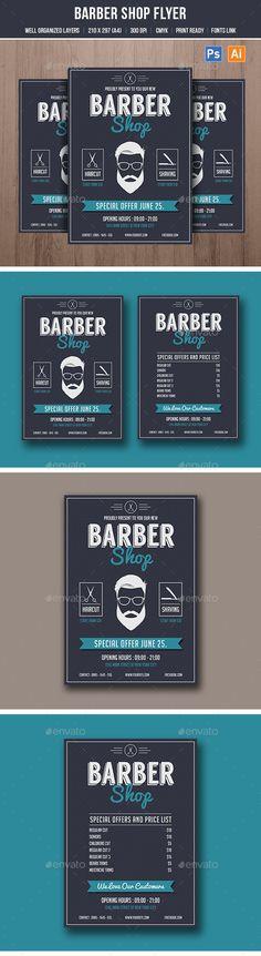 Barber Shop Flyer Template PSD, AI Illustrator. Download here: http://graphicriver.net/item/barber-shop-flyer/16610771?ref=ksioks