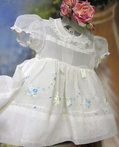 1950's organza baby dress with sweet embroidery