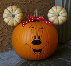tonight's project - create a Mickey mouse pumpkin for Audrey's school's halloween festival