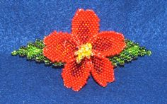 "A lovely 3-D beaded columbine flower beaded barrette that measures 4"" end to end. Beadwork is sewn to leather. French clip closure. $19.95 w/ free shippingSEE OTHER COLORS IN OUR EBAY STORE #barrette #beaded #flower #hairaccessory"