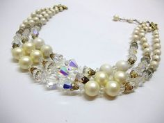 Vintage Triple Strand Matte Pearl Crystal Bead by donDiLights, $30.00