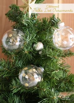Easy DIY Christmas Ornaments - glittered polka dot ornaments! How to make your own Christmas Ornaments and Decorations!
