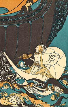 Art Nouveau Mermaids Fabric Block illustration for Quilt. Art And Illustration, Illustrations, Mermaid Illustration, Alphonse Mucha, Art Nouveau, Mermaids And Mermen, Mermaid Art, Mermaid Quilt, Mermaid Fabric