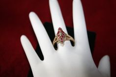 10Kt Yellow & White Gold 1930's Ruby Diamond Ring by pasttimejewelry, $135.00