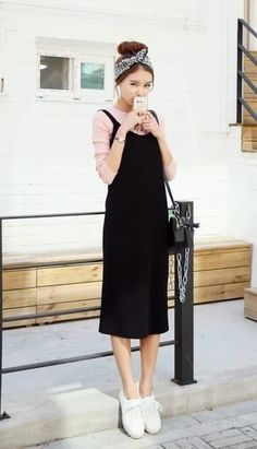 How to wear: black tank dress, pink long sleeve t-shirt, white Fashion Couple, Nyc Fashion, Editorial Fashion, Boho Fashion, Womens Fashion, Fashion Tips, Black Tank Dress, Inspiration Mode, Fashion Quotes