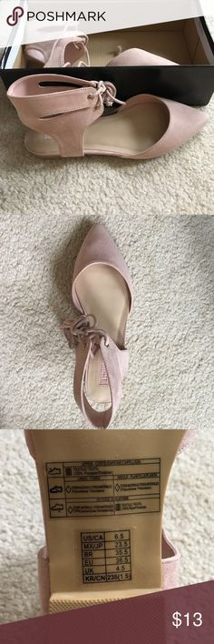 Pointed Lace Up Flats It's a 6.5 but it would fit a 7.5 better. Tired it on myself and they were an inch too big. (I'm a 6.5) blush pink color it's really cute. Listed as Urban for exposure. Urban Outfitters Shoes