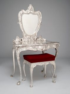 William C. Codman, American (b. England), 1839-1921. Gorham Manufacturing Company, United States (Providence, RI), 1831-present. Dressing Table and Stool, 1899. Silver with mirrored glass, ivory and replacement upholstery