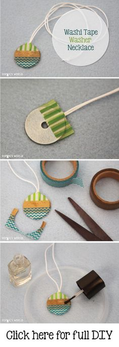 Washi Tape Washer Necklace- Sophie's World  DIY: http://sophie-world.com/crafts/washi-tape-washer-necklace