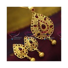 Gold Plated Handmade Brass Metal Temple Kempu Pendant Earrings Set Gold plated pendant set with temple kempu spinel stones. Height of the pendant is 85 mm and width is 43 mm Height of the earrings is 48 mm and width is 25 mm Earrings lock is Brass Metal, Pendant Set, Pendant Earrings, Party Wear, Earring Set, Crochet Earrings, Plating, Chain, Stone