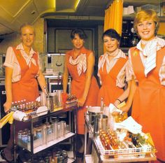 Ansett Airlines of Australia Crew & Galley...three tiered carts