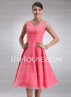 Bridesmaid Dresses - $90.99 - A-Line/Princess V-neck Tea-Length Organza Bridesmaid Dresses With Ruffle (007001796) http://jjshouse.com/A-line-Princess-V-neck-Tea-length-Organza-Bridesmaid-Dresses-With-Ruffle-007001796-g1796