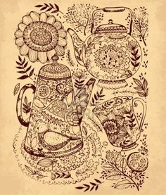 hand drawn illustration with coffee pot, tea pot and cup Stock Photo - 17922124